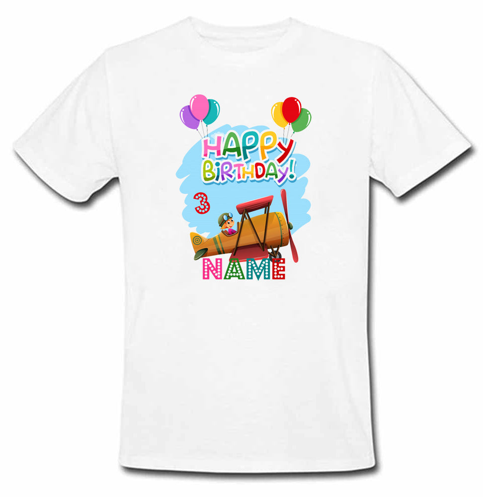 Sprinklecart Happy Birthday Printed Rocket Birthday Tee | Personalized Birthday T Shirt for Your Little One