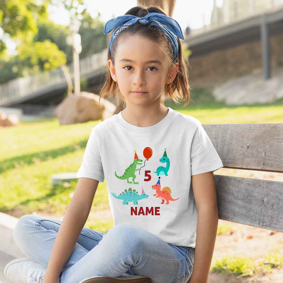 Sprinklecart Dinosaur Birthday Tee Gift | Personalized 5th Birthday Wear for Your Little One
