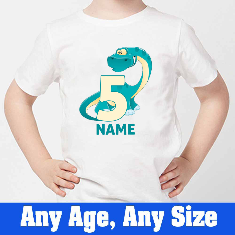 Sprinklecart Dinosaur Birthday T Shirt | Custom Name and Age Printed Birthday