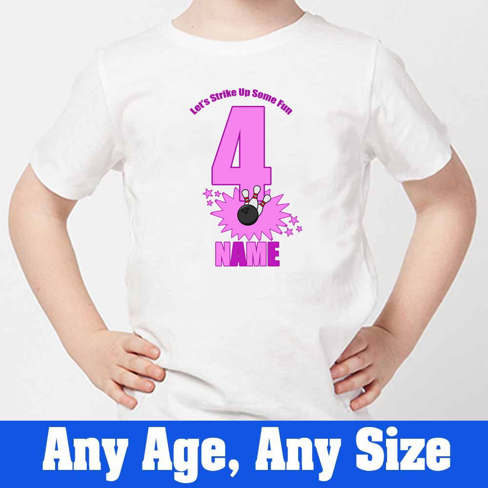 Sprinklecart Let's Strike Up Some Fun Printed Bowling Pin Birthday Dress | Personalized 4th Birthday T Shirt