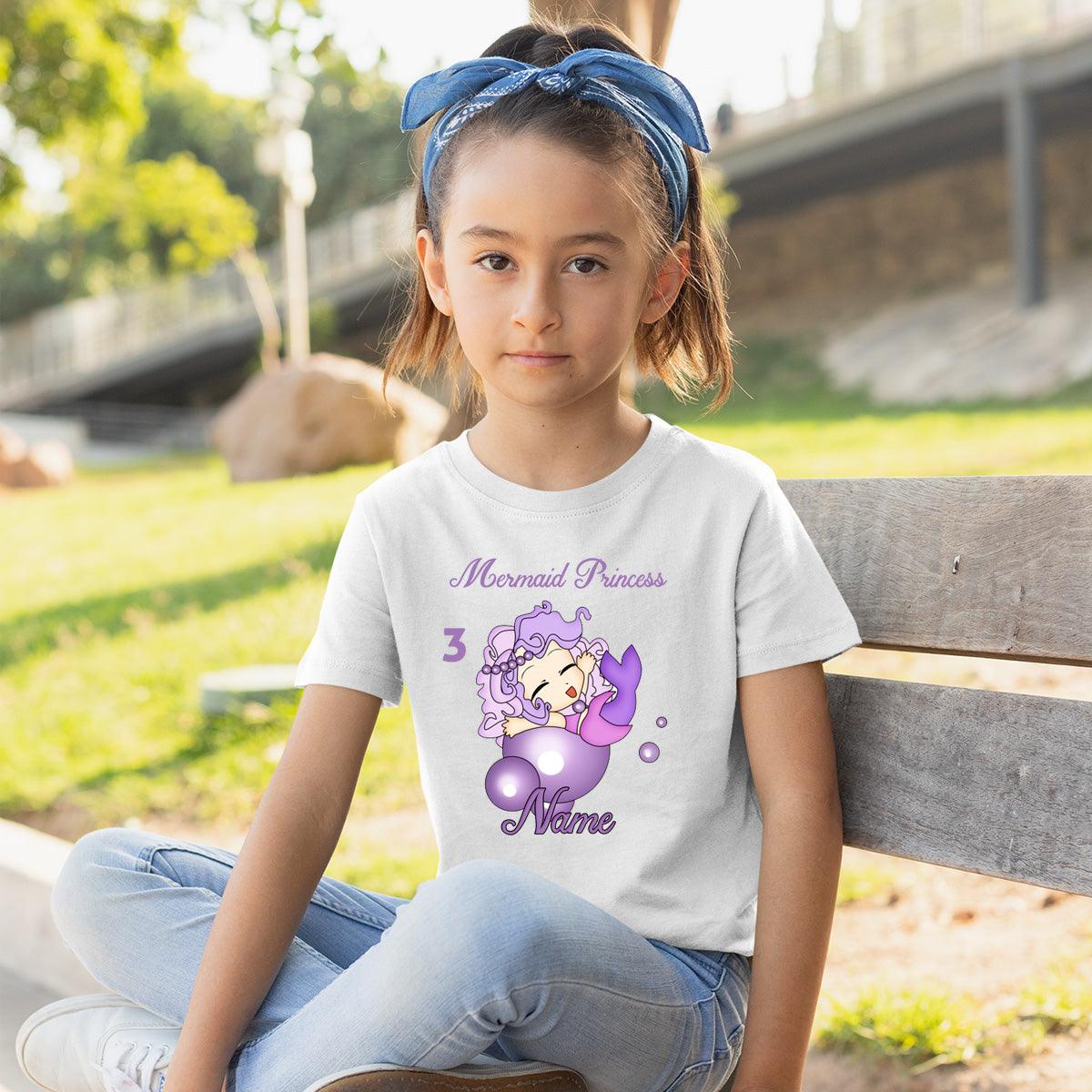 Sprinklecart Cute Little Mermaid Birthday Tee Gift | Customized 3rd Birthday Dress for Your Little Princess