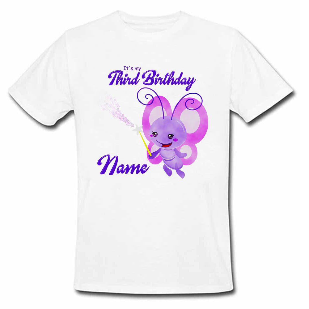 Sprinklecart It's My Third Birthday Printed Cute Butterfly Birthday Wear | Personalized Birthday T Shirt