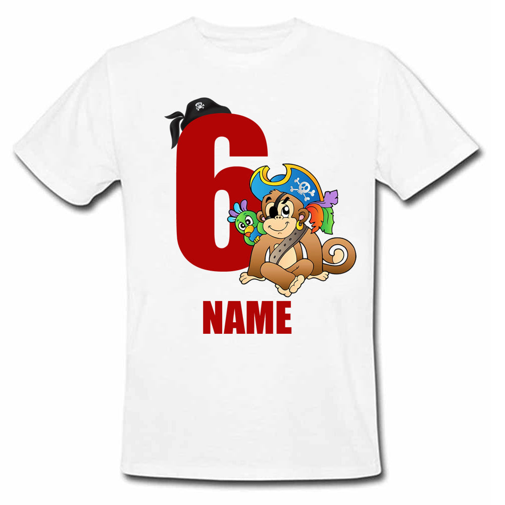 Sprinklecart Pirate Monkey Birthday Wear Personalized 6th Birthday T Shirt, Poly-Cotton (White)