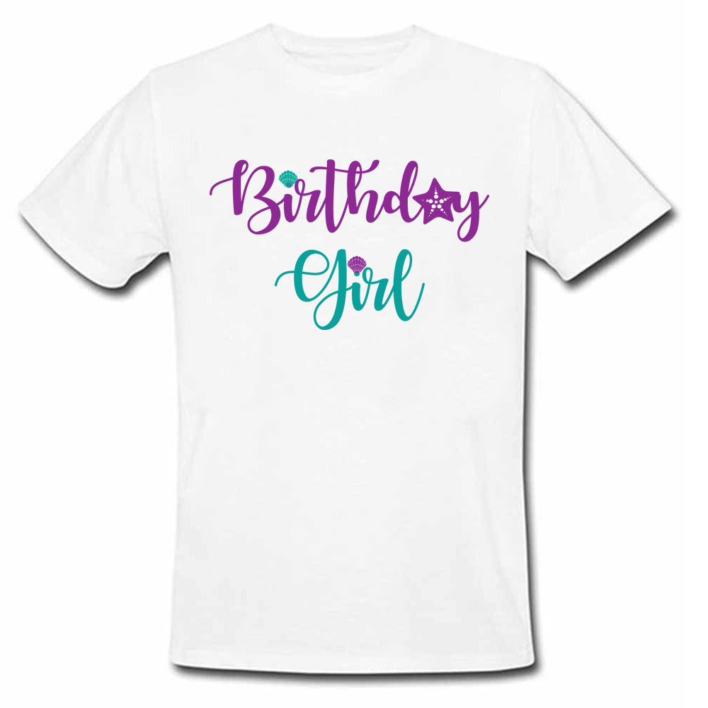 Sprinklecart Mermaid Themed Birthday Girl Dress Birthday T Shirt