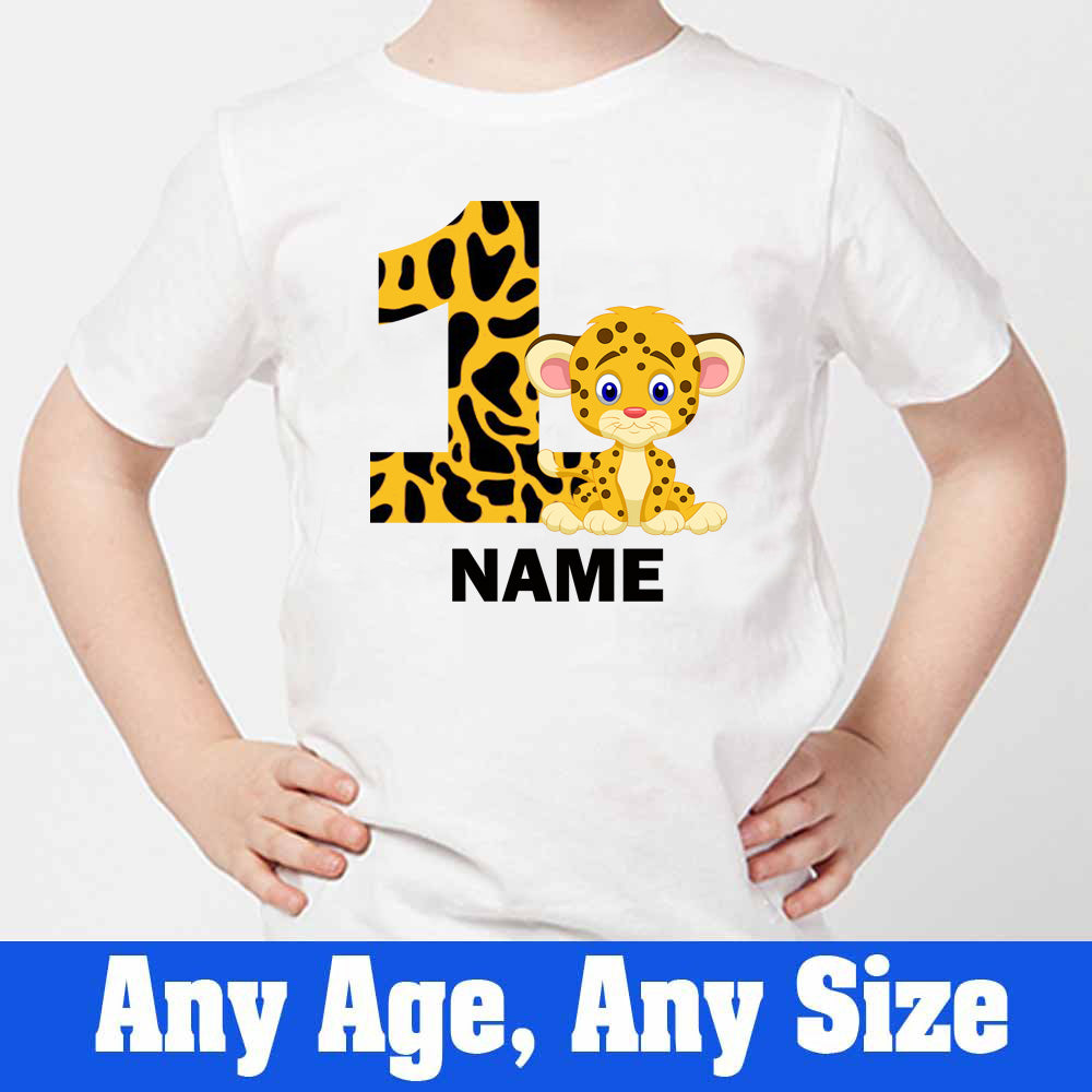 Sprinklecart Personalized Name Printed Cheetah Birthday Wear Customized 1st Birthday T Shirt, Poly-Cotton (White)