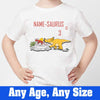 Sprinklecart Customized 3rd Birthday Wear Personalized Dinosaur Birthday T Shirt Gift, Poly-Cotton (White)