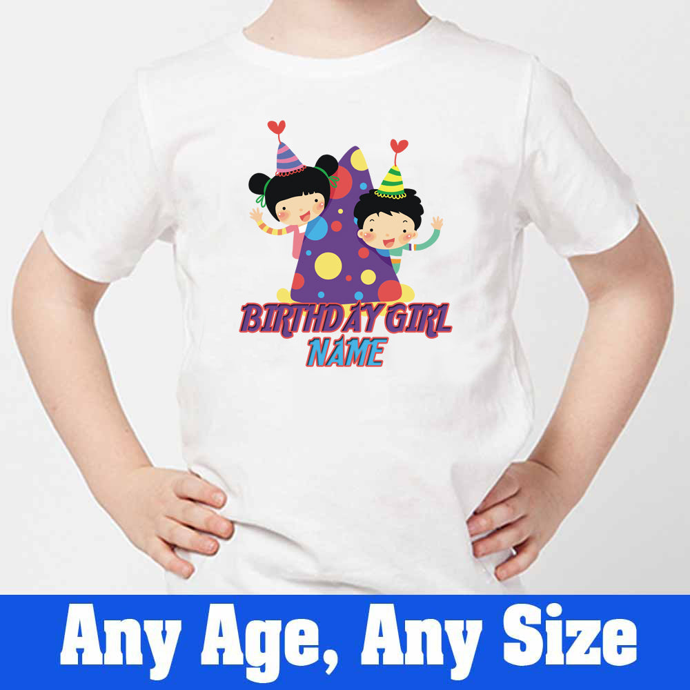 Sprinklecart Cute Birthday Hat Themed Birthday Part Wear Custom Name Printed Birthday Tee, Poly-Cotton (White)