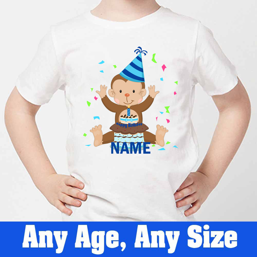 Sprinklecart Cute Monkey Birthday T Shirt Cusrtom Name Printed Birthday T Shirt for Your Kid, Poly-Cotton (White)