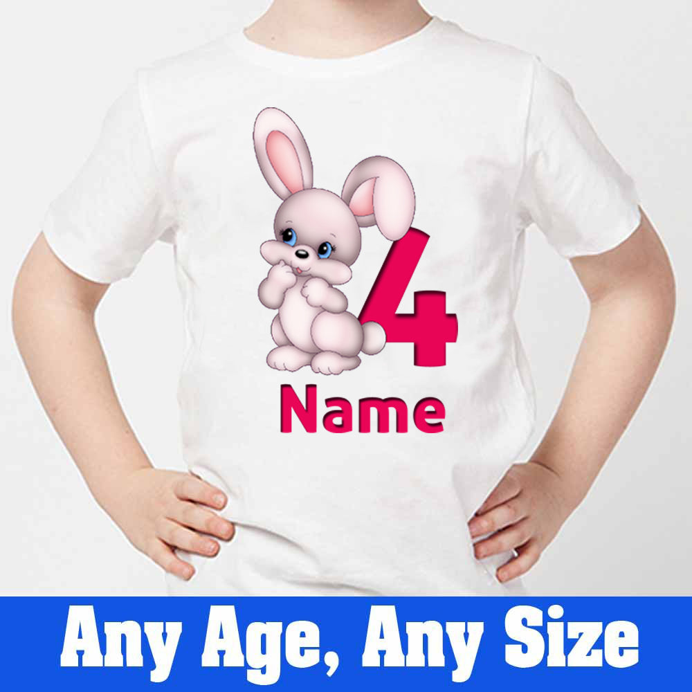 Sprinklecart Bunny Birthday Tee Gift Custom Name and Age Printed 4th Birthday Wear, Poly-Cotton (White)