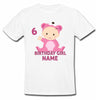 Sprinklecart Cute Baby Birthday Tee Gift Custom Name and Age Printed Birthday Dress, Poly-Cotton (White)