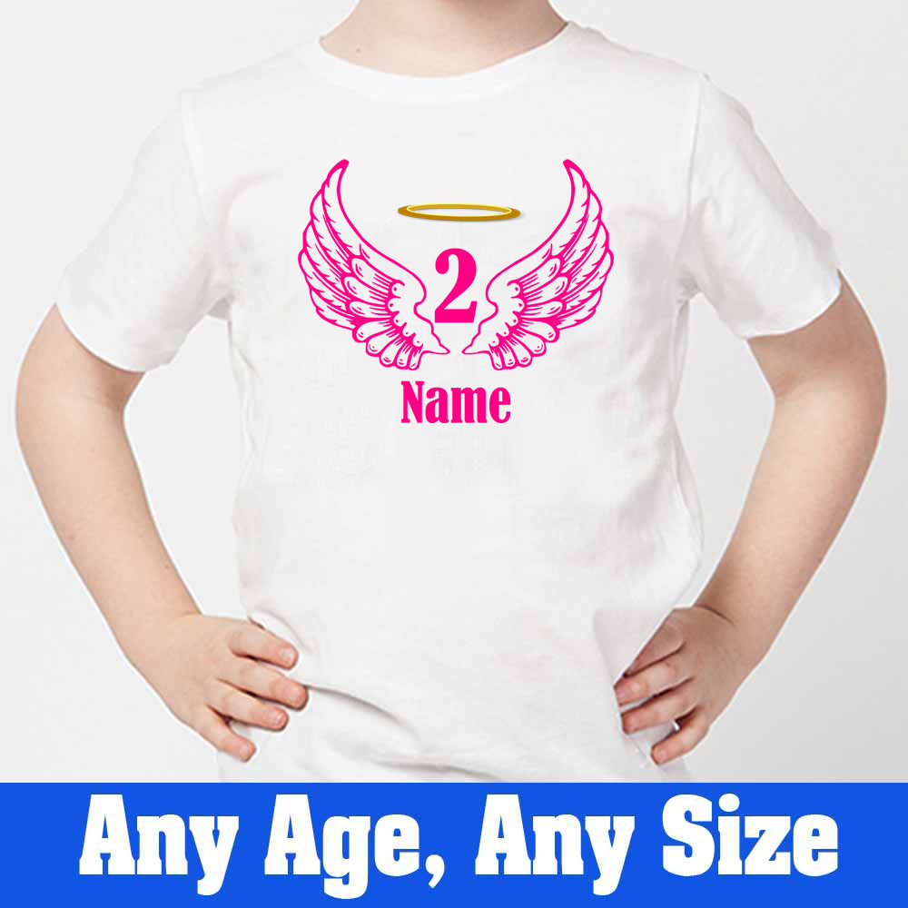 Sprinklecart Angel Birthday T Shirt Customized Name and Age Printed 2nd Birthday Dress, Poly-Cotton (White)
