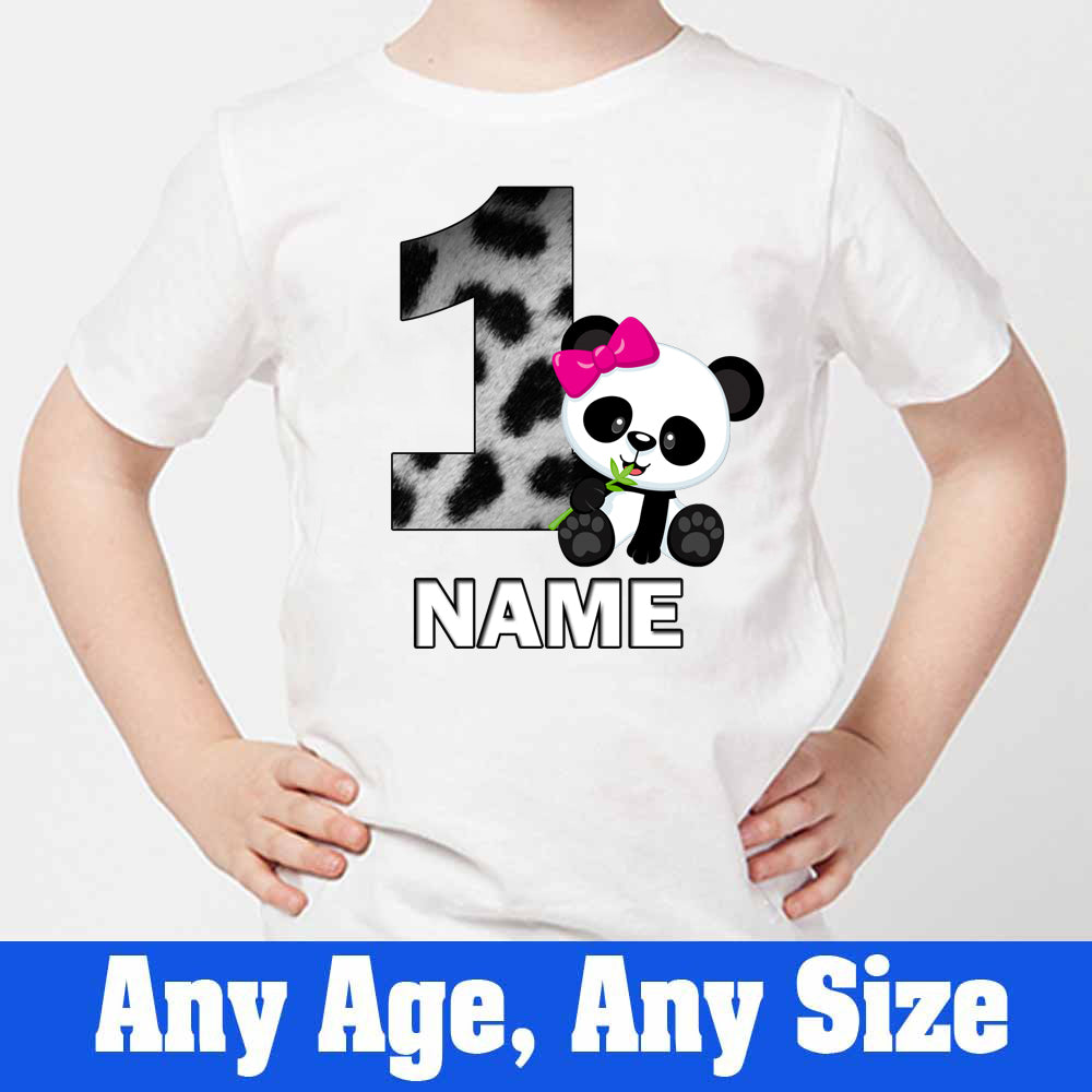 Sprinklecart Cute Little Panda Birthday Wear Custom Name and Age Printed 1st Birthday Dress, Poly-Cotton (White)