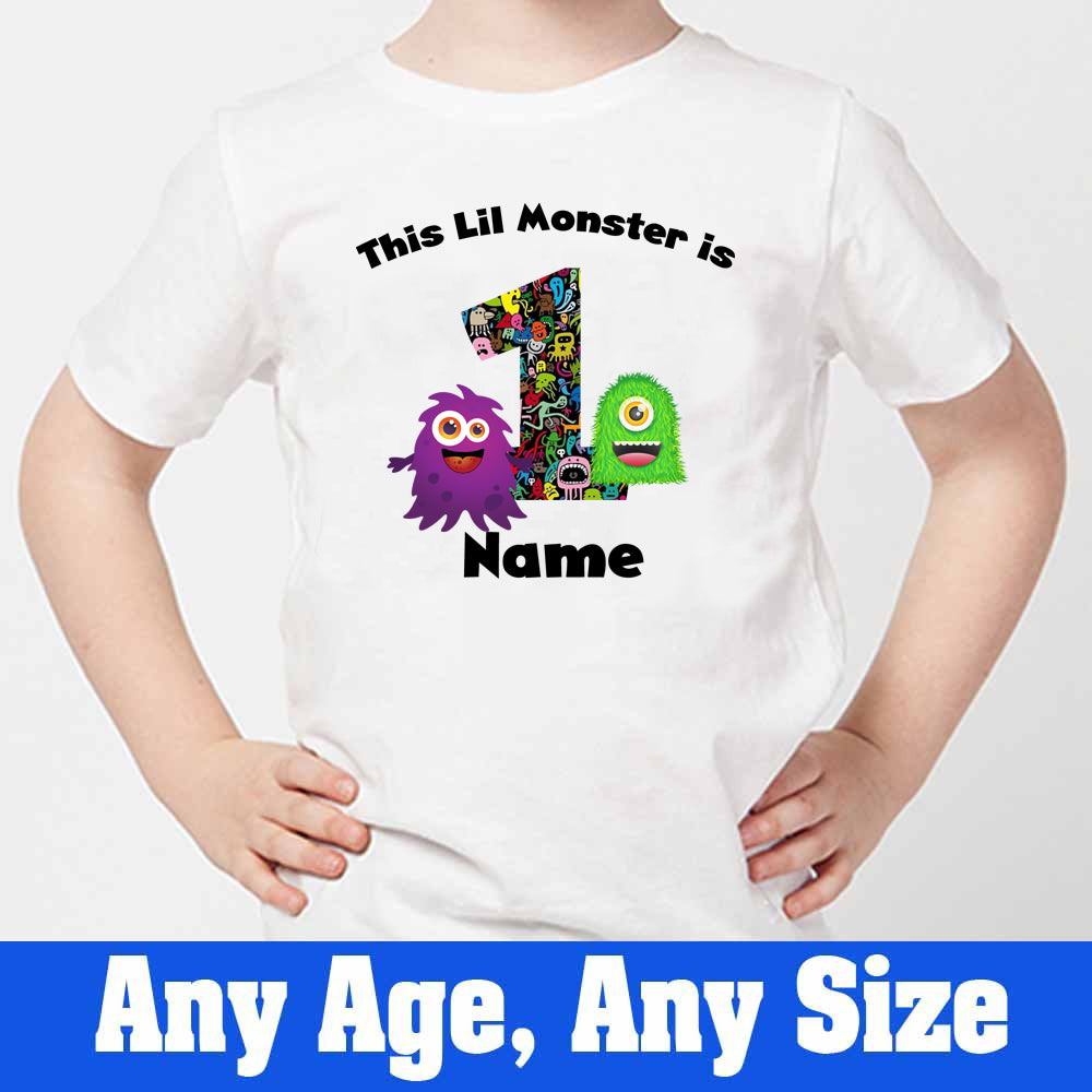 Sprinklecart This Lil Monster is 1 Printed Birthday Tee Gift Customized 1st Birthday Dress, Poly-Cotton (White)