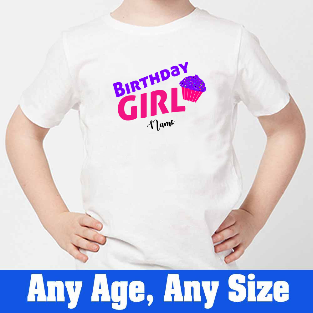 Sprinklecart Cute Cup Cake Birthday T Shirt Custom Name Printed Birthday Dress, Poly-Cotton (White)