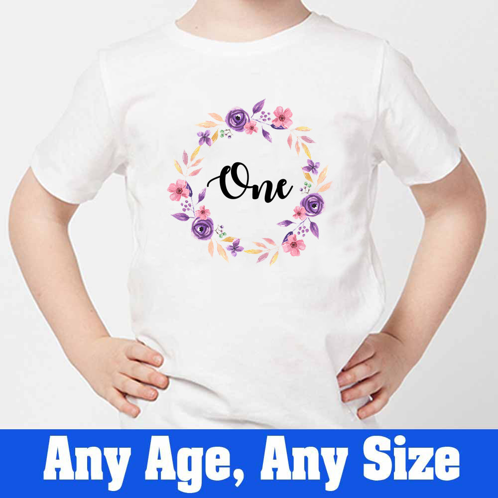 Sprinklecart Awesome Birthday Gift for Your Little One Customized Floral Print 1st Birthday T Shirt, Poly-Cotton (White)
