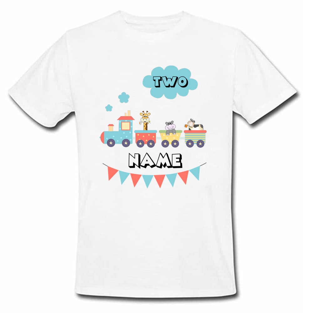 Sprinklecart Custom Name and Age Printed 2nd Birthday T Shirt Personalized Train Birthday Wear, Poly-Cotton (White)