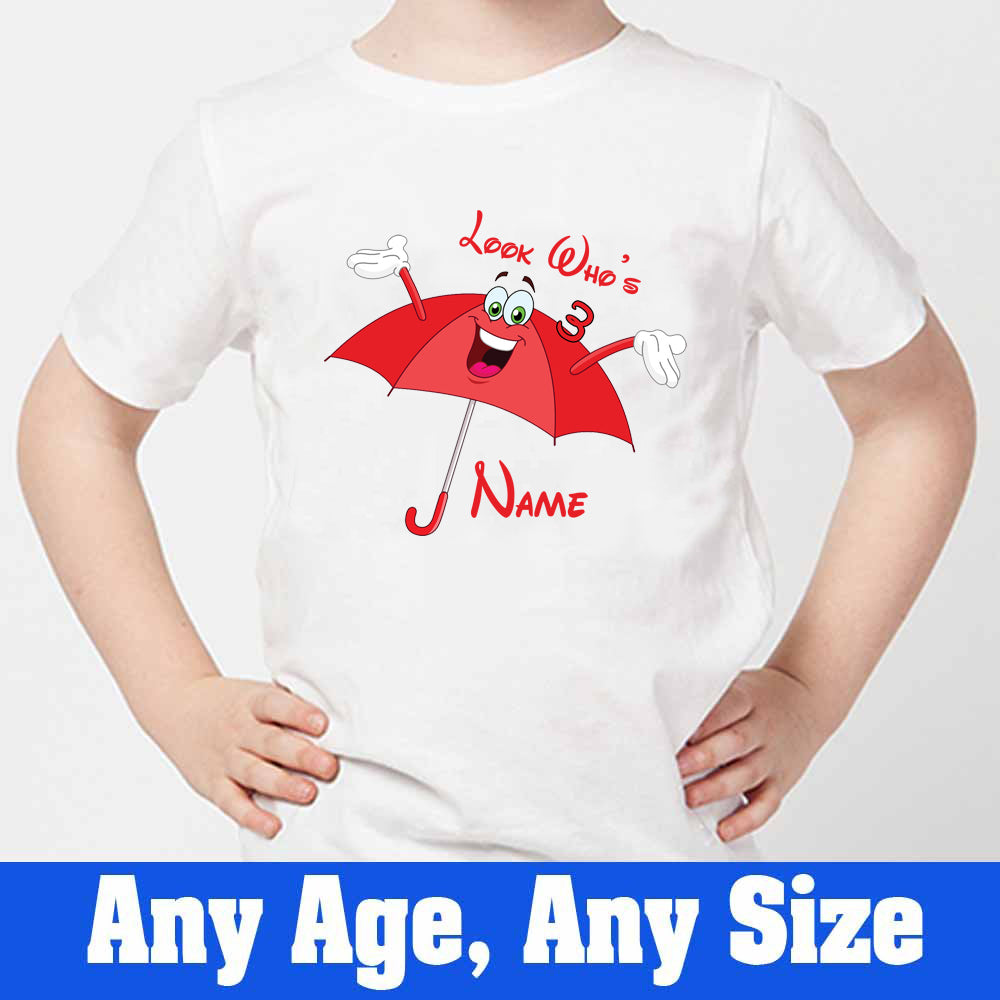 Sprinklecart Look Who's 3 Printed Cute Umbrella Birthday Tee Gift Custom Name and Age Printed 3rd Birthday T Shirt, Poly-Cotton (White)