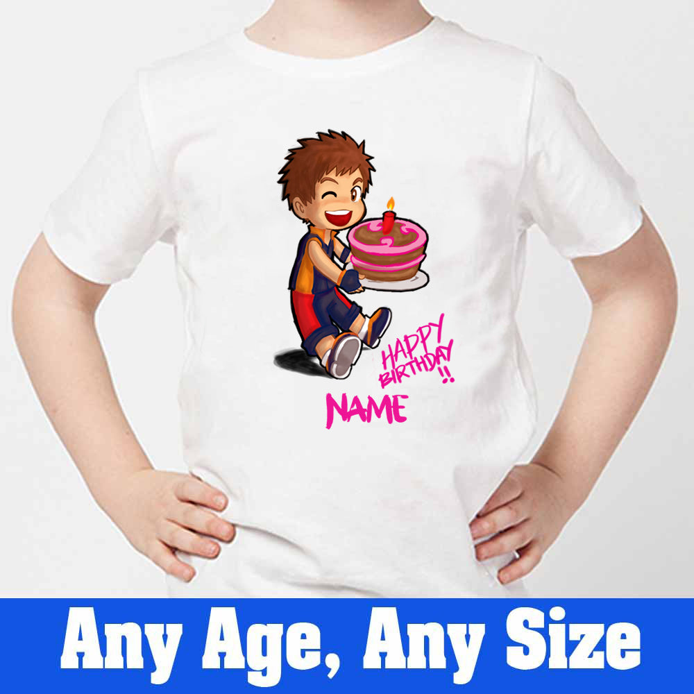 Sprinklecart Custom Name and Age Printed Birthday T Shirt for Boys Ideal Birthday Dress for Your Little One, Poly-Cotton (White)