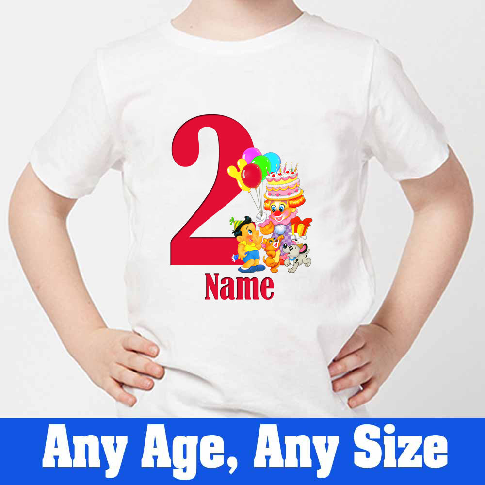 Sprinklecart Cute Animals Birthday T Shirt Custom Name and Age Printed 2nd Birthday Dress, Poly-Cotton (White)