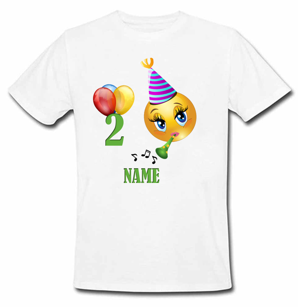 Sprinklecart Emoji Birthday T Shirt for Your Little One Customized 2nd Birthday Wear, Poly-Cotton (White)