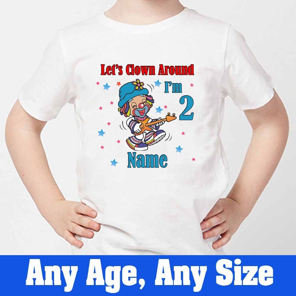 Sprinklecart Personalized Let's Clown Around I'm 2 Printed Clown Birthday T Shirt, Poly-Cotton (White)