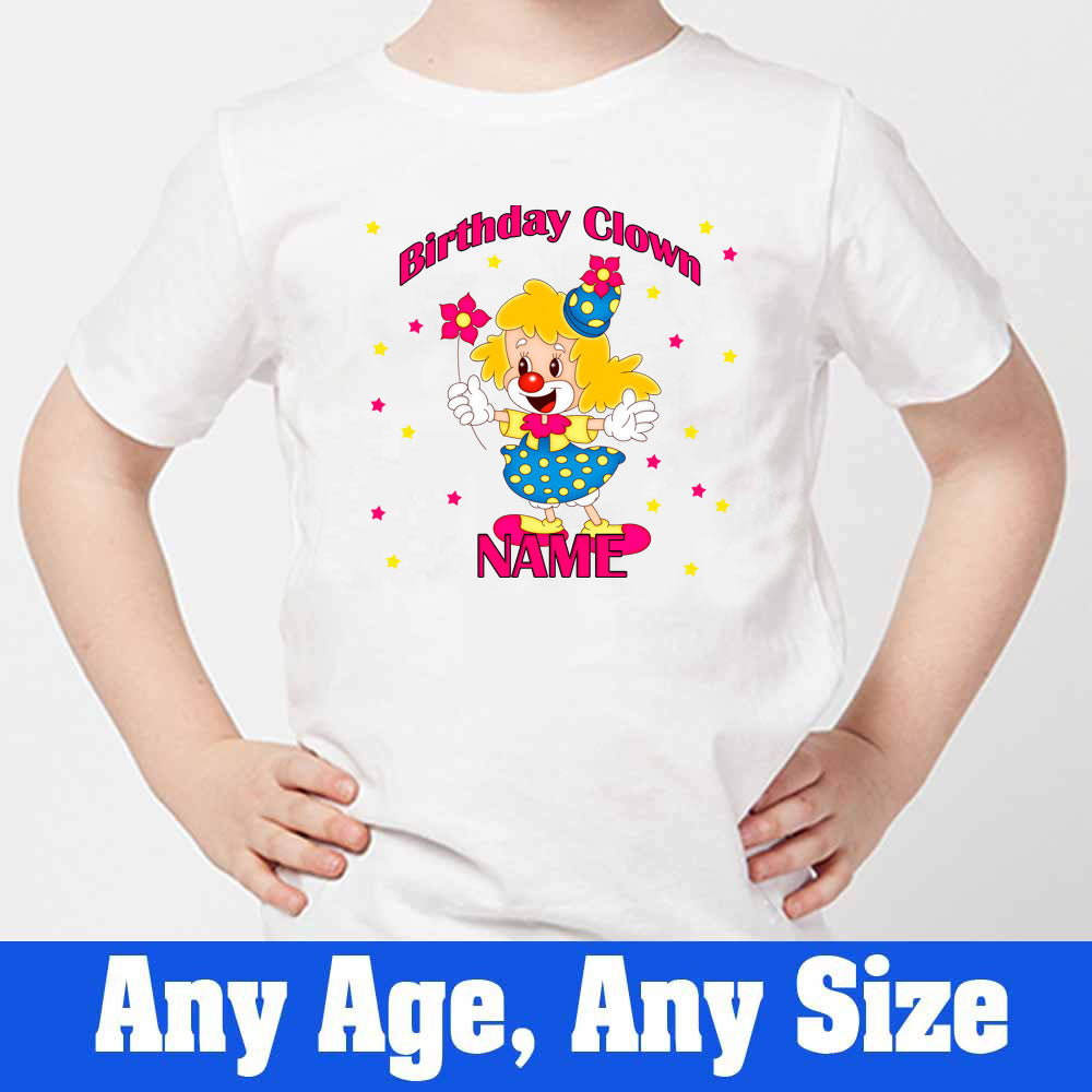Sprinklecart Custom Name and Age Printed Birthday Clown Printed Birthday T Shirt, Poly-Cotton (White)