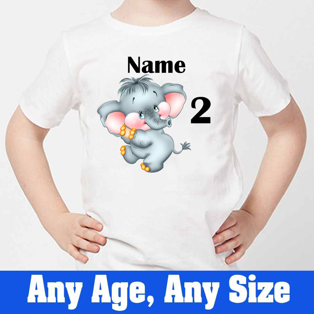 Sprinklecart Little Elephant Personalized 2nd Birthday Tee Gift, Poly-Cotton (White)