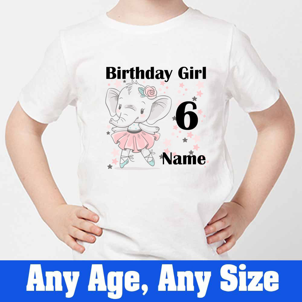 Sprinklecart Customized Name and Age Printed 6th Birthday T Shirt for Your Little One, Poly-Cotton (White)