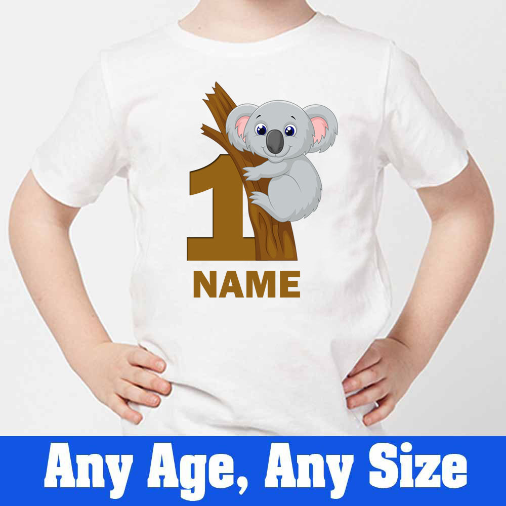 Sprinklecart Custom Name and Age Printed Coala 1st Birthday T Shirt Gift for Your Little One, Poly-Cotton (White)