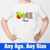 Sprinklecart Colourful Ball First Birthday Personalized Kids T Shirt, Poly-Cotton (White)