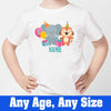 Sprinklecart Custom Name and Age Printed Cute Animal's Kids 3rd Birthday T Shirt, Poly-Cotton (White)