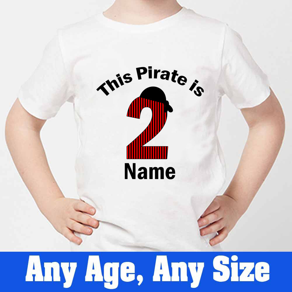 Sprinklecart Personalized Name and Age Printed 2nd Birthday T Shirt | Pirate Themed Birthday Dress