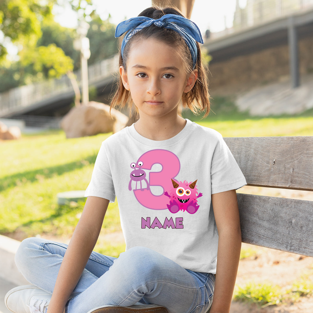 Sprinklecart Kids Customized Name Printed 3rd Birthday Monster T Shirt, Poly-Cotton (White)