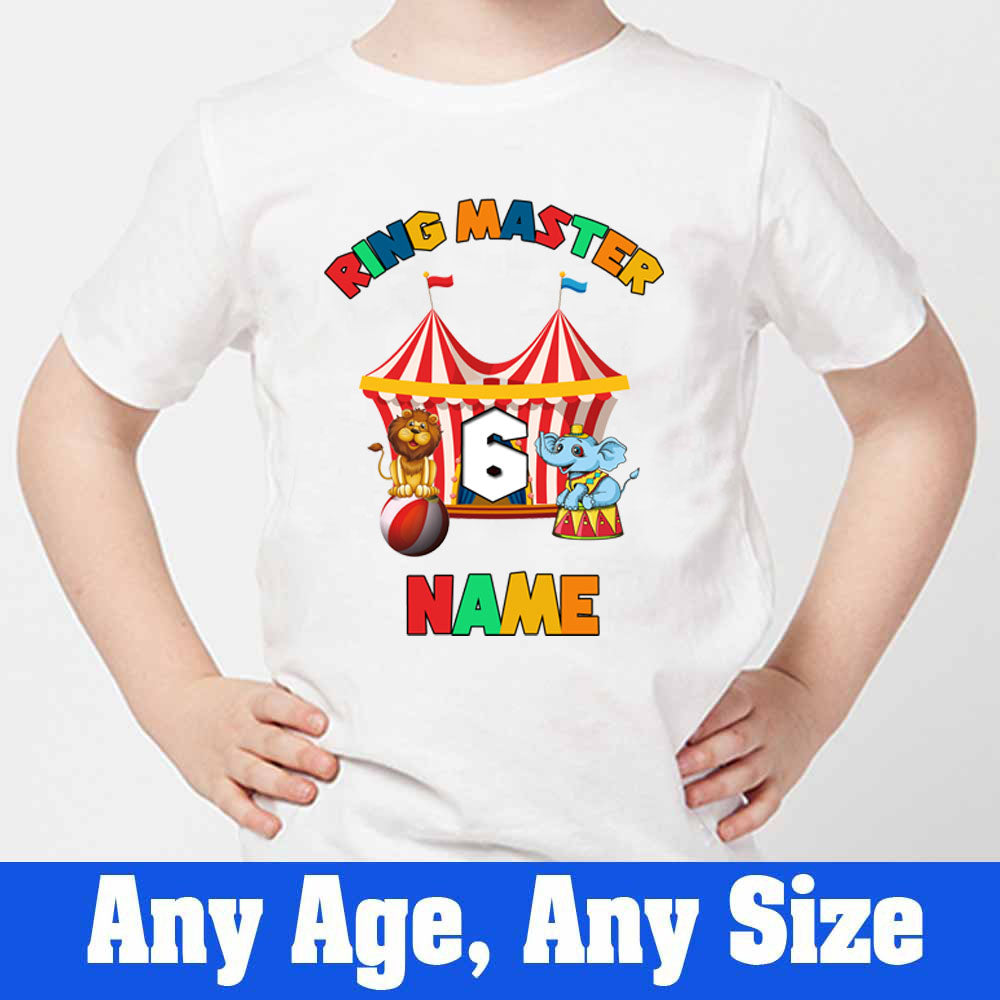 Sprinklecart Personalized Circus Tent Themed Kids 6th Birthday Tee Wear, Poly-Cotton (White)