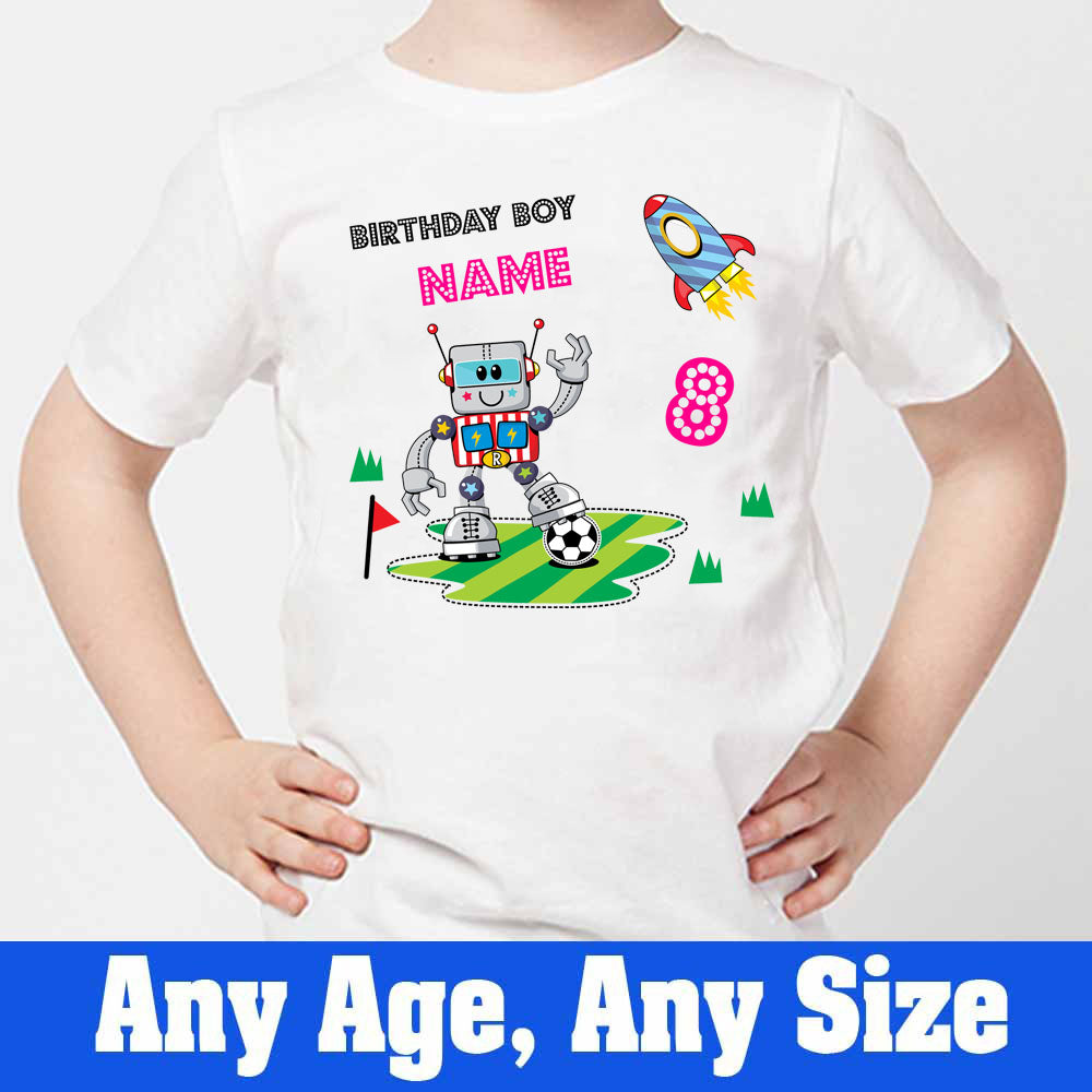 Sprinklecart Kids Custom Name and Age Printed Robot 8th Birthday Tee Wear, Poly-Cotton (White)