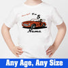 Sprinklecart Let's Go I'm 5 Printed Customized Car Birthday Tee for Kids, Poly-Cotton (White)