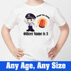 Sprinklecart Kids Custom Name and Age Printed Police Birthday T Shirt Wear, Poly-Cotton (White)