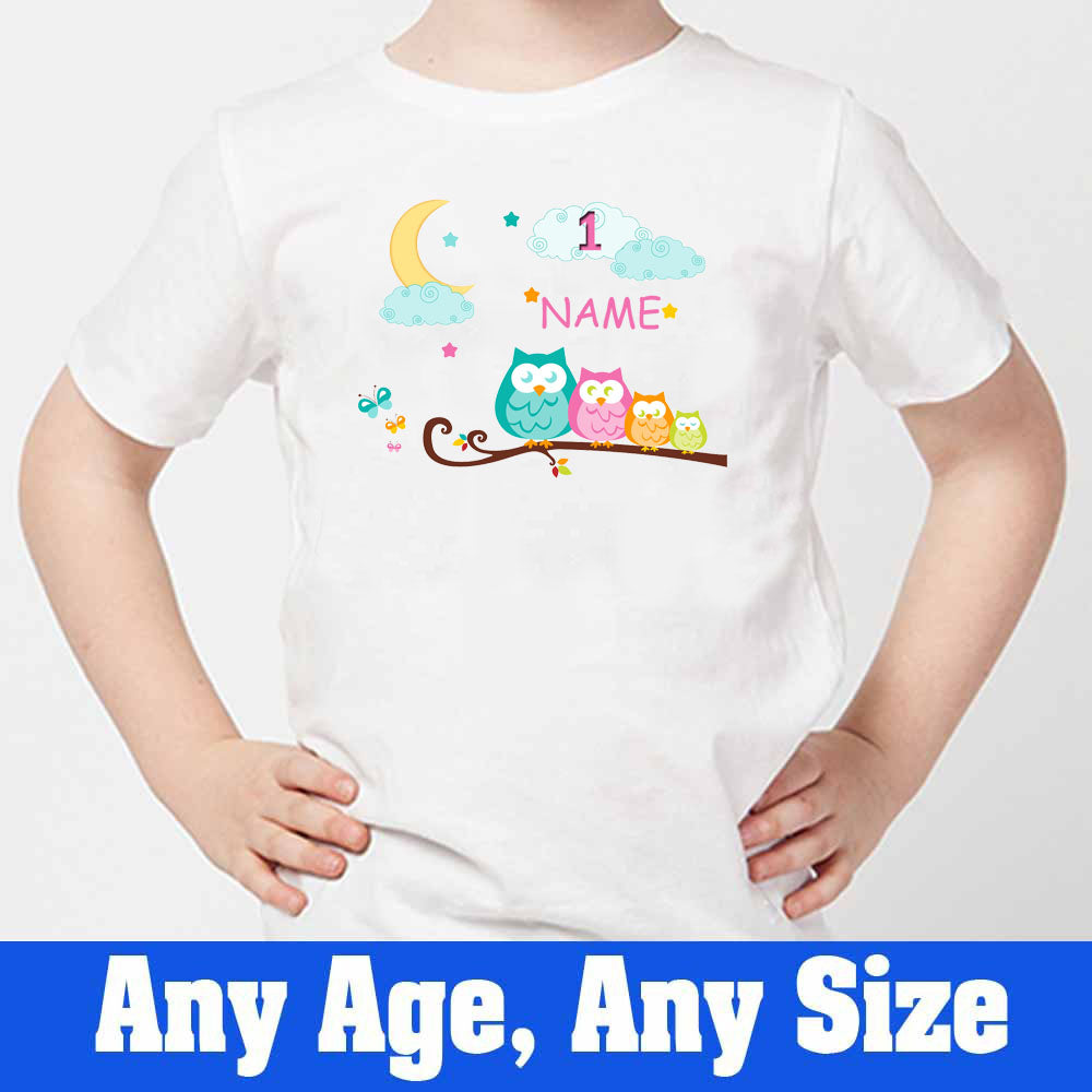 Sprinklecart Owl Custom Name Printed 1st Birthday T Shirt for Kids, Poly-Cotton (White)