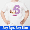 Sprinklecart Kids Customized Name and Age Printed Owl Birthday Tee, Poly-Cotton (White)