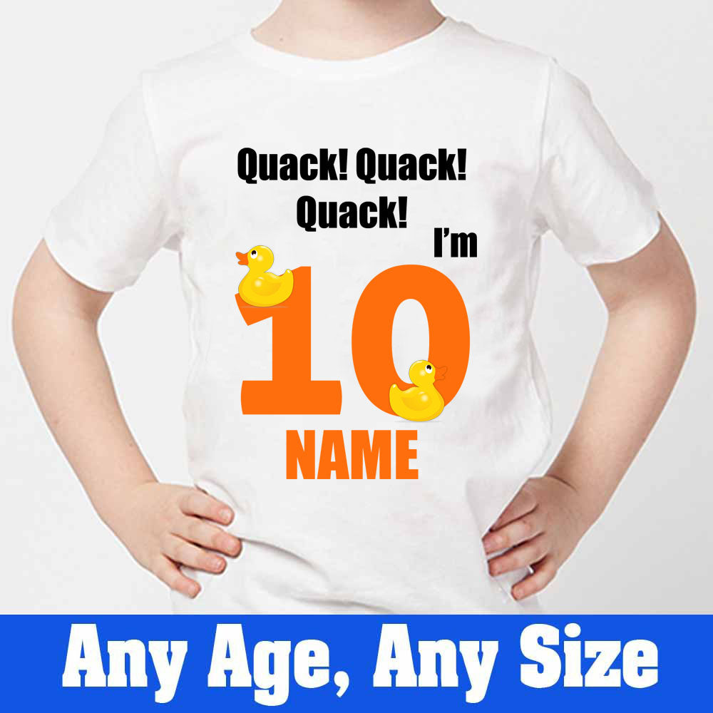 Sprinklecart Quack Quack Quack I'm 10 Printed Little Duck Kids Customized Birthday Tee, Poly-Cotton (White)
