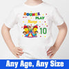 Sprinklecart Customized Bounce and Play Name is 10 Printed Park Themed Kids Birthday Tee, Poly-Cotton (White)