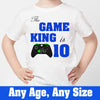 Sprinklecart Personalized This Game King is 10 Printed Birthday Tee, Kids Poly-Cotton (White)