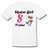 Sprinklecart Custom Name and Age Printed Skater Girl 8th Birthday Kids T Shirt, Poly-Cotton (White)