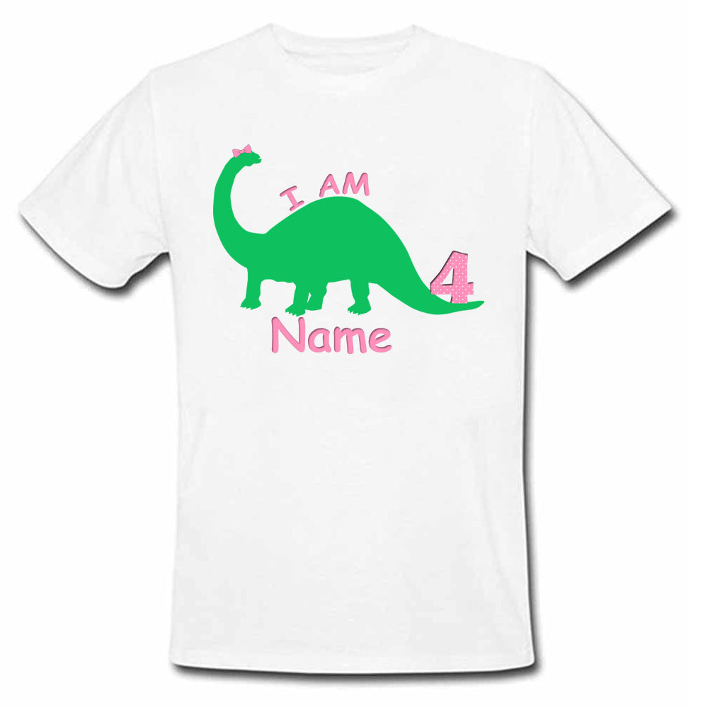 Sprinklecart I am 4 Printed Dinosaur Birthday Tee Gift for Kids, Poly-Cotton (White)
