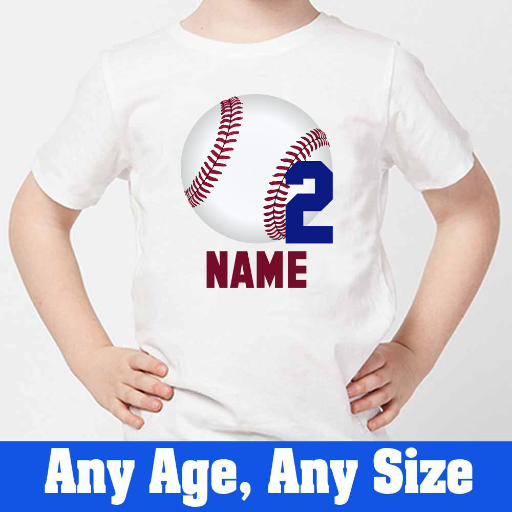 Sprinklecart Customized Base Ball 2nd Birthday Poly-Cotton T Shirt for Kids (White)