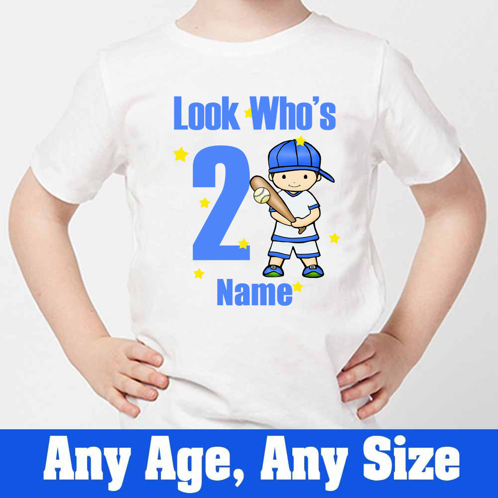 Sprinklecart Look Who's 2 Printed Personalized Base Ball Kids Poly-Cotton Tee (White)