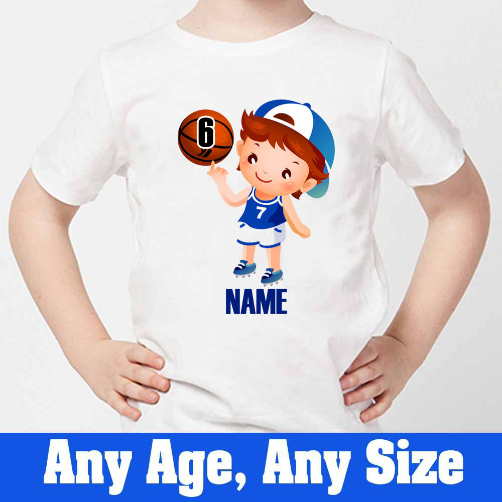 Sprinklecart Personalized Basket Ball Kids 6th Birthday Poly-Cotton T Shirt (White)