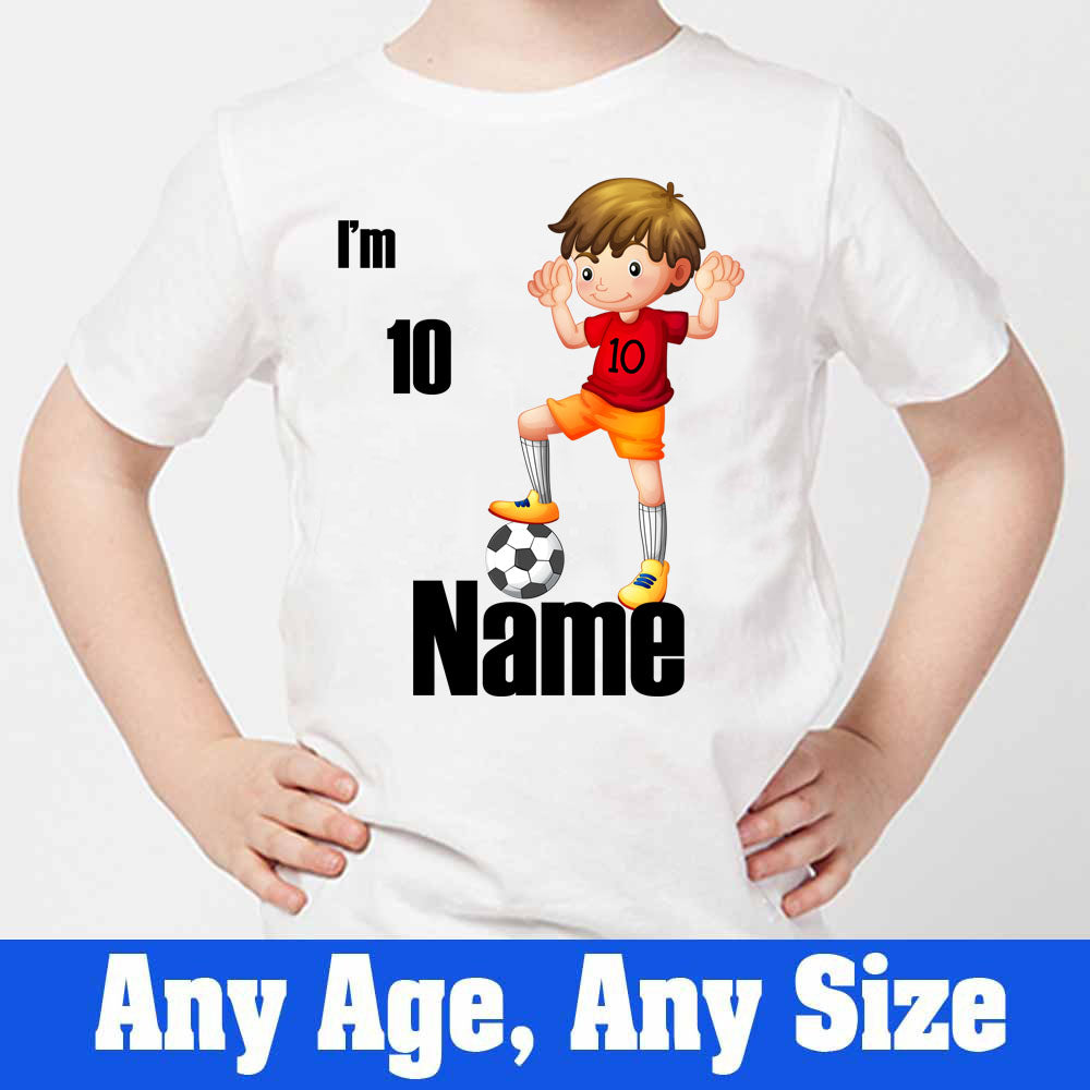 Sprinklecart Customized Football 10th Birthday Kids Poly-Cotton T Shirt (White)