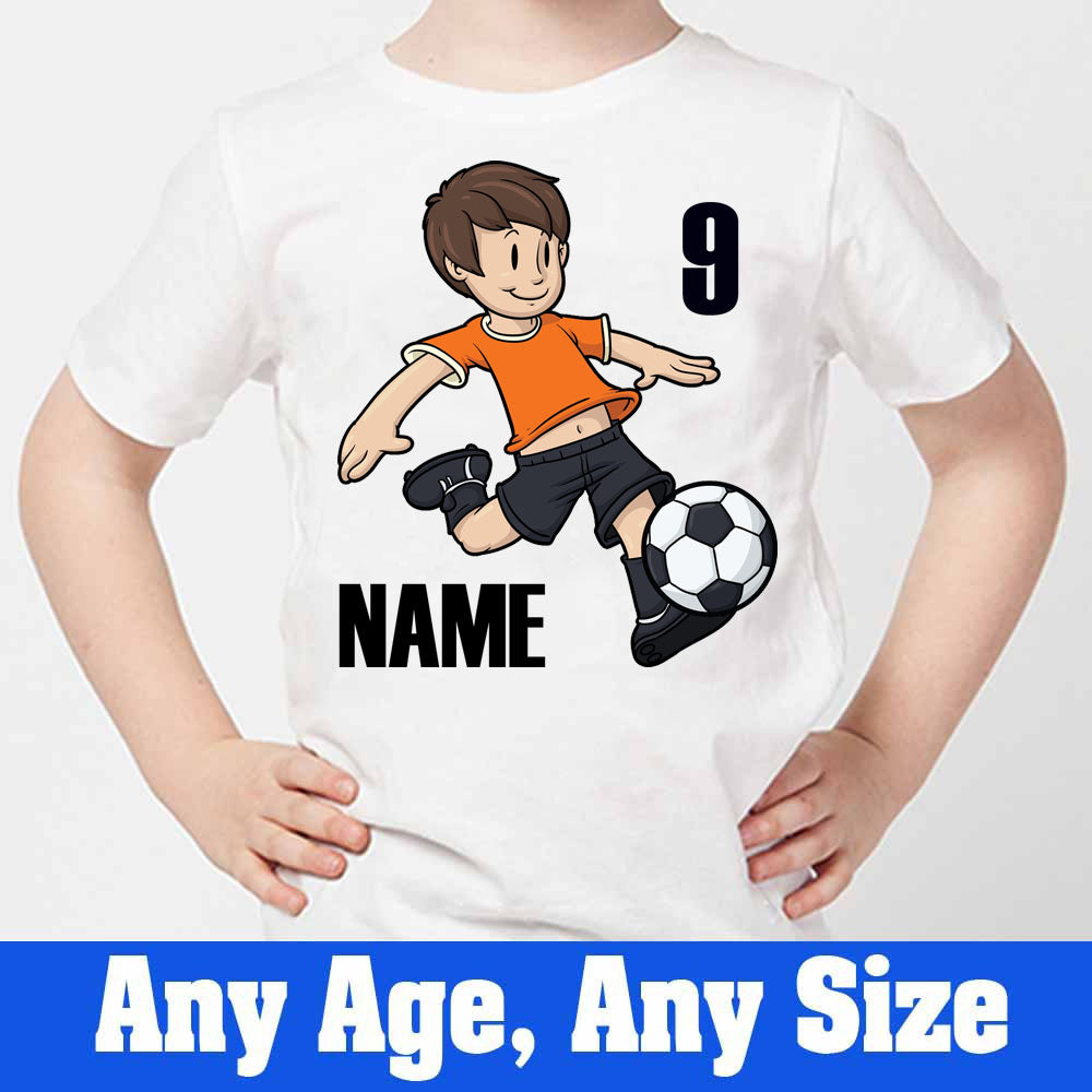Sprinklecart Custom Name and Age Printed Football 9th Birthday Kids Poly-Cotton Tee (White)
