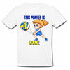 Sprinklecart Customized Name and Age Printed Volleyball 3th Birthday Kids Poly-Cotton T Shirt (White)
